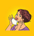 woman puts on a medical mask vector image vector image