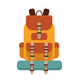 yellow hiking backpack icon vector image