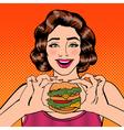 Young Woman Eating Hamburger Pop Art vector image vector image