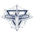 gothic style sword with wings tattoo vector image