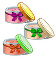 three open cosmetic jars with cream for skin care vector image