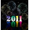 2011 numbers with fireworks vector image vector image