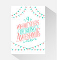 9 years birthday and anniversary celebration typo vector image vector image