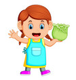 a girl holding fresh cabbage vector image vector image