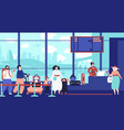 airport check in queue girl waiting plane vector image vector image