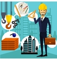 Architect constructor worker at his work place vector image vector image