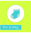 Baby boy sock Shower card vector image vector image