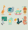 back to school animal character hand drawn style vector image