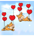 bear flying with balloons in shape heart vector image