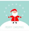 Cartoon Santa Claus snowflakes snowhill Christmas vector image vector image