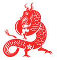 chinese horoscope sign red horned dragon vector image
