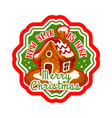 christmas gingerbread cookie house label design vector image vector image