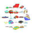 city transport icons set cartoon style vector image vector image