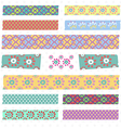 Collection of Cute Patterned Washi Tape Strips vector image vector image