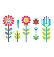 creative spring or summer flowers blooming bud set vector image vector image