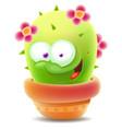 cute cartoon cactus in pot vector image vector image
