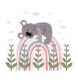 cute cartoon koala on a rainbow print vector image vector image