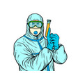 doctor man in protective suit with a test tube a vector image