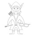 Elf archer contour vector image
