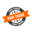 fair trade sign fair trade orange-black round vector image vector image