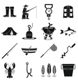 Fishing tools icons set simple style vector image vector image