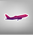flying plane sign side view purple vector image vector image