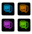 glowing neon chat icon isolated on white vector image