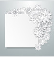 greeting card template with paper flowers vector image vector image