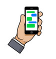 hand holding a smartphone with chat bubbles on vector image vector image