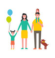 happy family mother father two daughters and dog vector image vector image