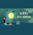 happy halloween greeting card witch at night vector image