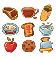 healthy breakfast food isolated graphic design set vector image