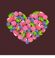 heart consists of berries vector image vector image