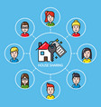 house sharing concept with group of people vector image vector image