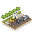 insurance isometric composition vector image vector image