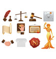 law justice and order realistic icons set vector image