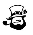 leprechaun face icon with hat pipe and clover vector image