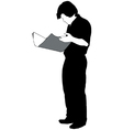 Man reading a newspaper silhouette vector image vector image
