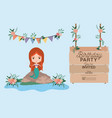 mermaid with wooden label invitation card vector image