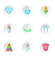 Newborn icons set cartoon style vector image