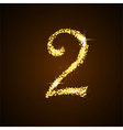 Number two of gold glittering stars vector image vector image