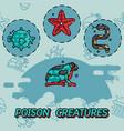 poisonous creatures flat concept icons vector image vector image