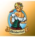 Pretty Bavarian girl eating sausage vector image vector image