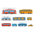 public city transport set taxi bus subway tram vector image