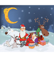 Santa Claus its friends and gifts cartoon vector image