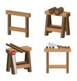 sawhorses for carpenters and joiners with wood vector image
