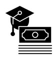 scholarship solid icon paid for education vector image