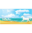 sea side landscape with horses and clouds vector image