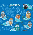 seamless pattern with hipster walruses with beards vector image vector image