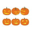 Set cheerful funny and angry pumpkins at vector image